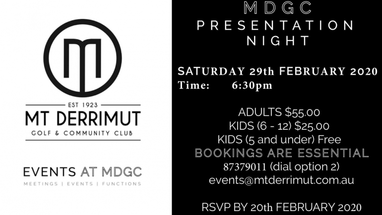 Presentation Night 29th Feb '20
