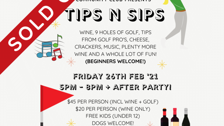 SOLD OUT – Tips n Sips – Fri 26th Feb